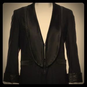 Alice + Olivia Tuxedo Blazer with Leather Trim